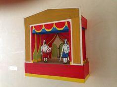 """G. Soldi, """"Teatrino n° 1"""" - 2002. Tempera su cartone per l'opera di un artista arrivato all'arte già da adolescente, che racconta di avanspettacolo e burattini fatti a mano e dipinti con la tempera. #art #lagomaggiore"""