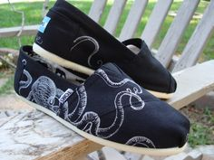 Octopus- hand drawn on TOMS shoes-made to order. via Etsy.