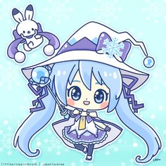 Snow Miku 2014 fanart by me! ♥ (゜▼゜*) I love her magical girl theme this year! >3<       <<<<<< BY LITTLEMISSPAINTBRUSH ON TUMBLR x