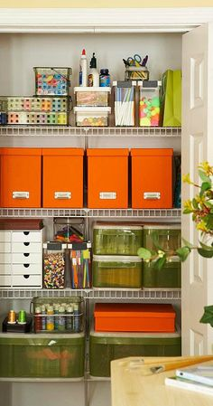 If a tidy creative space is on your wish-list, make sure to check out this inspiration for crafting a craft room. With plenty of space for your sewing essentials and enough storage for your scrapbooking supplies, what's not to love about this organization inspiration?