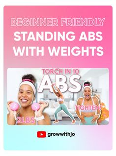 no more crunches, sit ups or planks! Lets do some standing ab exercises to tone up and feel amazing while we do it! This workout is perfect for beginners, low impact, and can be done at home in a small space! Standing Ab Exercises, Standing Abs, Walk The Weight Off, Sit Up, Tone It Up, Crunches, At Home Workouts, Muscle, Planks