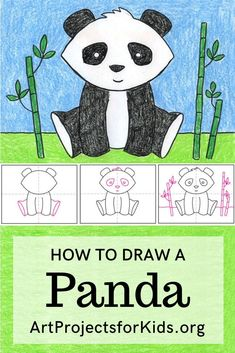 How to Draw a Panda · Art Projects for Kids Learn how to draw a Panda with this fun and easy art pro Drawing Lessons For Kids, Easy Drawings For Kids, Art Lessons, Easy Drawing For Children, Easy Art Projects, Drawing Projects, Projects For Kids, Panda For Kids, Art For Kids