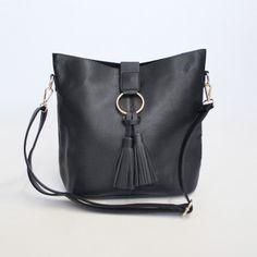 Redcurrent Black Tassel Bucket Bag
