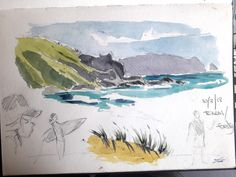 Watercolour Plein Air sketch from my sketchbook of rocky headland and seascape at Te Arai beach Watercolor Paintings Nature, Watercolor Ocean, Watercolor Painting Techniques, Watercolor Sketchbook, Watercolor Tips, Seascape Paintings, Watercolor Landscape, Landscape Sketch, Impressionist Landscape