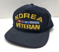 e07fbd407ce KOREA VETERAN HAT NAVY BLUE CAP SNAP BACK TRUCKER KOREAN WAR RIBBON ONE  SIZE USA