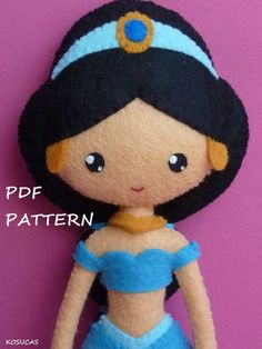PDF sewing pattern to make felt doll inspired in par Kosucas