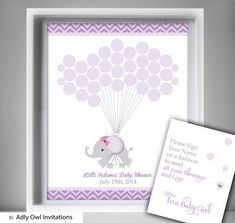 Purple Elephant Guest Book Printable by adlyowlinvitations on Etsy