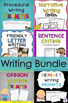 This writing bundle contains over 150 pages of ideas, activities, worksheets, papers, and prompts for primary students.  It covers Narrative, Procedural, Friendly Letter, and Opinion Writing plus Sentence Editing & Primary Prompts.