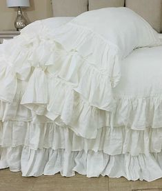 This comfortable and charm duvet cover with three tiered ruffle is a dream for any shabby chic room. The pillowcases also features tiered ruffles. Luxuriously soft yet practical. Farmhouse Style Bedrooms, Farmhouse Bedroom Decor, Shabby Cottage, Shabby Chic, White Bedding, White Bedroom, Bedroom Sets, Dream Bedroom, Bedding Sets