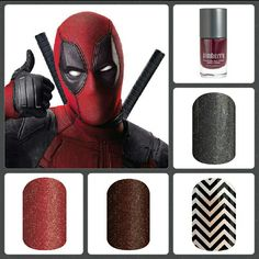 Deadpool Inspired Jamberry Collection: Mai Tai, After Dark, Black Chevron, Tungsten Sparkle wraps and Red Currant Nail Lacquer elly.jamberry.ca