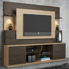 Affordable Wooden Tv Stands Design Ideas With Storage 08 - Tv wall decor Tv Stand Modern Design, Tv Stand Designs, Tv Cabinet Design Modern, Tv Unit Decor, Tv Wall Decor, Tv Wall Panel, Wall Tv, Modern Tv Wall Units, Modern Wall