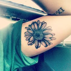 black daisy tattoo - Google Search ( I personally like the Roman numerals in the upper arm better)