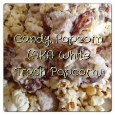 White trash popcorn is made with popcorn, pretzels, peanuts, and more!