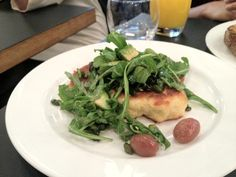 Kopapa Café and Restaurant - Ricotta fritters with avocado, roast grape & rocket salad & pistachio caramel sauce: