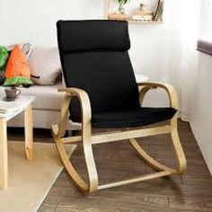 Haotian Comfortable Relax Rocking Chair, Gliders, Lounge Chair with Cotton Fabri… - Rocking Armchair Living Room Chairs, New Furniture, Living Room Furniture, Nursery Furniture, Mid Century Modern Armchair, Mid Century Chair, Eames Rocking Chair, Bentwood Chairs, Camping Chairs