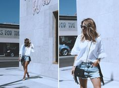 CALIFORNIA DAYS  Street style look with shorts and flared sleeves white top. By fashion blogger Monica Sors