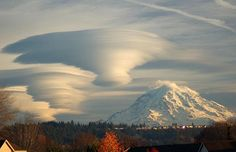 A lenticular cloud formation near Mt Ranier in Washington State  Picture: TIM THOMPSON / NASA APOD