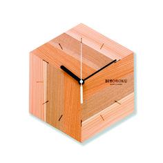Wooden marquetry clock designed by Yuko Noguchi