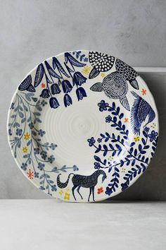 Anthropologie Saga Dinner Plate, horse, floral, spring, boho, bohemian, gypsy style