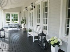 White Deck, Front Verandah, House Entrance, Deck Design, Sweet Home, Sweet Sweet, Outdoor Gardens, New Homes, Backyard