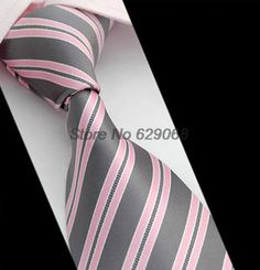 Free Shipping Formal Pink & Gray StripeTie For Men Silk Business Wedding Casual Men's Ties 03 34-in Apparel & Accessories on Aliexpress.com | Alibaba Group