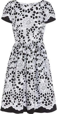 Oscar  De  La  Renta  Printed Stretchcotton Dress @Lyst