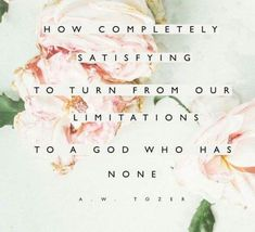 How completely satisfying to turn from our limitations to a God who has none. A. W. Tozer