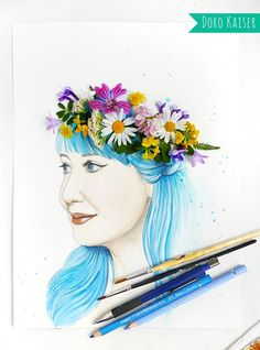 watercolor portrait with colored hair and flower crown; #watercolor #face #woman #coloredhair #flowers #flowercrown #dorokaiser