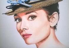 Audrey Hepburn - Coloured A5 pencil drawing. Faber Castell Polychromos