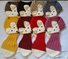 Fox Hand Knit scarf /neck warmer for KIds up to 12 years old Made with acrylic yarn. The scarf is very cute warm and nice Size: Kids Length : 26~29 Body : 3.25 Adult length: 29-31 Body 3.25 Machine or hand wash in cold, lay flat to dry.