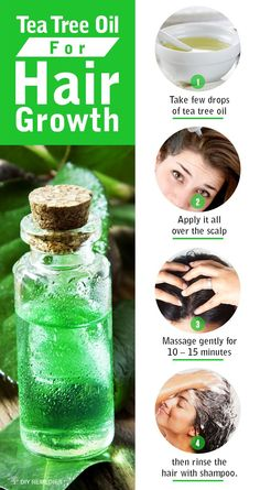 tea tree oil helps to unclog hair follicles and nourish your roots. To use tea tree oil as a hair growth treatment,