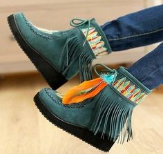 Tassels Fringe Womens Shoes Wedge Moccasin Lace Up Embroidery Mid Calf Boots | eBay