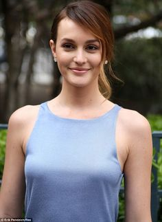 Natural beauty: The Gossip Girl star's make-up was tastefully done to extenuate her natura...