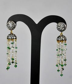 Mouse over image to zoom Have one to sell? Sell it yourself Emerald Plain Beads & Pearl Studded Earrings Made In .925 Sterling Silver