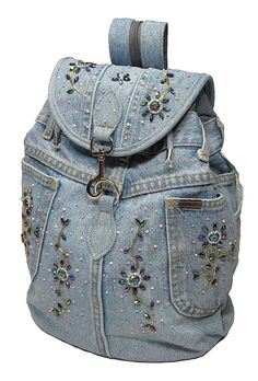 Amazon.com: Upcycled Handmade Beaded Blue Denim Backpack: Clothing
