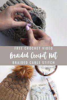 Chunky Crochet Hat, Crochet Cable, Diy Crochet, Crochet Crafts, Crochet Wool, Crocheted Hats, Tunisian Crochet, Crotchet, Beanie Pattern Free
