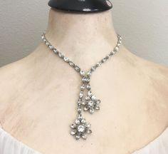 1950s Statement Rhinestone Necklace - Clear Rhinestone Bridal Necklace - Vintage…