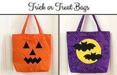 Tutorial and Templates for Trick or Treat Tote Bags