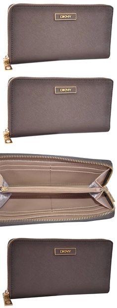 Women Accessories: Dkny Donna Karan Khaki Saffiano Leather Zip Around Wallet Clutch -> BUY IT NOW ONLY: $49.99 on eBay!