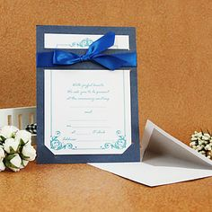 Nice Wedding Invitation With Ribbon (Set of 50) – USD $ 59.99
