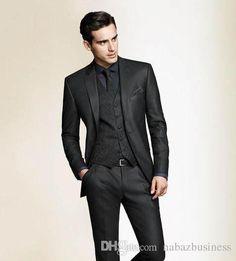 Three Pieces Man`s 2015 Tux Suits Black Slim Fit Custom Made Tuxedo For Men Groom Groomsmen Tuxedos Men Wedding Suits Jacket+Pant+Vest Black On Black Tuxedos Black Waistcoat Mens From Nabazbusiness, $65.33| Dhgate.Com