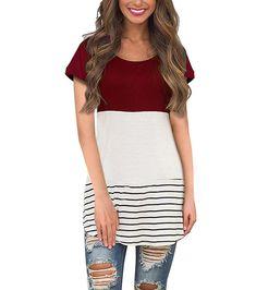 7a3e601f76884 Back Lace Tops Color Block Short Sleeve T-Shirt Tunics Blouse