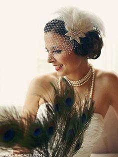 Beautiful deco styled bride... and peacock feather bouquet!!!