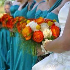 light blue and burnt orange wedding Danielle loves roses