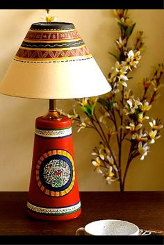 hand painted terracotta Lamp from UnravelIndia.in