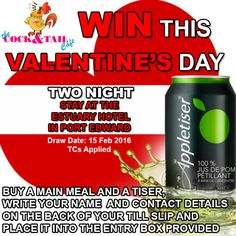 WIN a two night stay at the Estuary Hotel in Port Edward with The Cock & Tail Café this Valentine's Day To enter: Simply buy a main meal and a Tiser, write your name and contact det… Stay The Night, Main Meals, Drink Bottles, Valentines Day, How To Apply, Valantine Day, Valentine's Day, Valentines