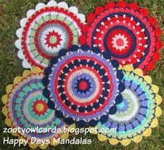 Zooty Owl: Happy Days Mandala - Free crochet pattern by Zelna Olivier. 23cm when made with dk yarn and 4mm hook.