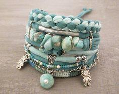 Amazonite Blue Green Bohemian Seafoam Bracelet Boho Jewelry, Gypsy Bracelet, Turquoise Bracelet, Boho Bracelet Set Goldfish Koi Charm