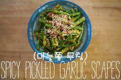 Korean-style spicy pickled garlic scapes   maneuljjong moochim (마늘쫑 무침)