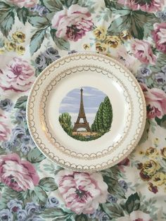 Vintage Limoges Eiffel Tower Plate  French by GypsysClosetVintage